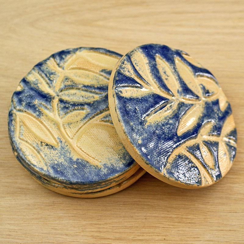 Ceramic Round Coasters In Blue and Cream Leaf Design 1