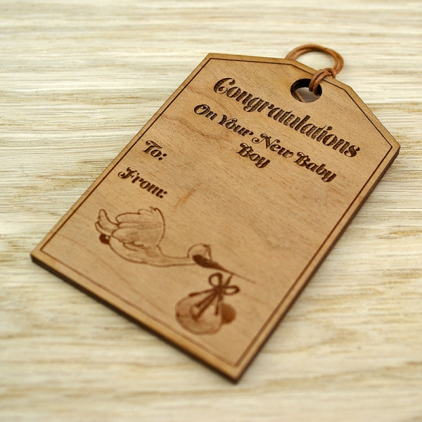Personalised Baby Gift Tags Uk : Wooden round gift tag happy easter design the little