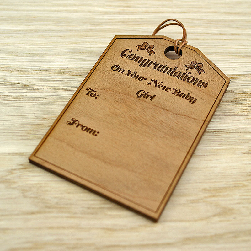 Personalised Baby Gift Tags Uk : Personalised wooden new baby gift tag bow design the