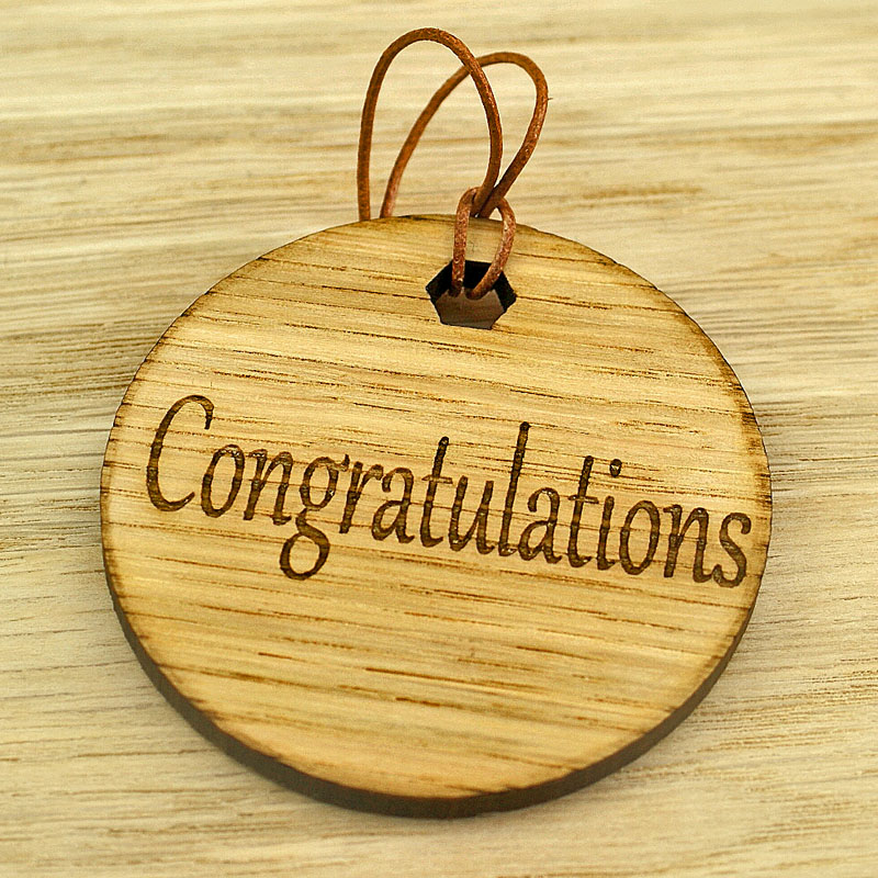 Wooden Round Gift Tag Congratulations Design